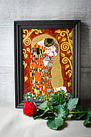 Витражная картина «Поцелуй» по репродукции Климта