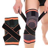 Наколенник эластичный для бега и занятий спортом AB023 с бандажными ремнями оранжевый