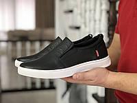 Мужские кроссовки в стиле Levis, натуральная кожа, черные*** 43 (28,4 см)