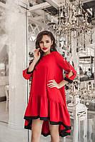 Женское нарядное весенее осенее платье колокольчик свободное костюмка красное размер 42-44