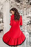 Женское нарядное весенее осенее платье колокольчик свободное костюмка красное размер 42-44, фото 2