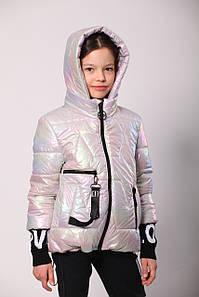 Весенняя куртка на подростка девочка   36-44 серебристый