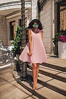 Женское свободное летнее легкое платье с хлопка на завязках размер 46-48 цвет нежно розовый