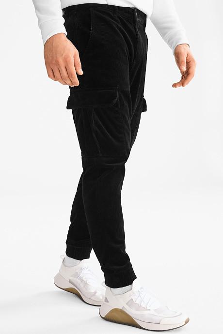 Мужские черные вельветовые штаны с боковыми карманами карго на манжетах C-and-A оригинал