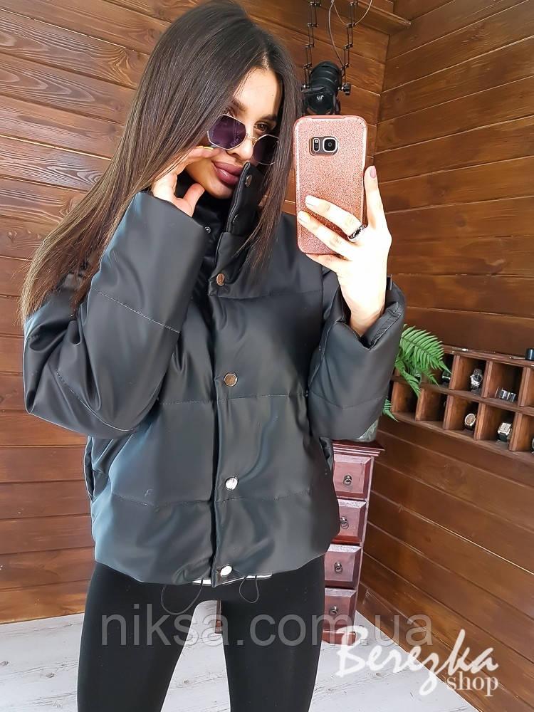 Демисезонная молодежная укороченная  куртка из эко-кожи разные цвета