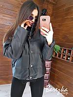 Демисезонная молодежная укороченная  куртка из эко-кожи разные цвета, фото 1