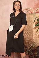 Легкое женское платье рубашка с асимметричным подолом и маленькой сумочкой в комплекте с 50 по 54 размер, фото 1