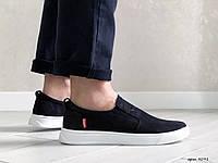 Мужские кроссовки в стиле Levis, натуральная кожа нубук, черные*** 42 (28 см)
