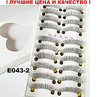Ленточные пучковые накладные ресницы 10 пар на белой нитке