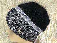 Женский натуральная шапка из  двухцветной  ангоры чёрной и серой