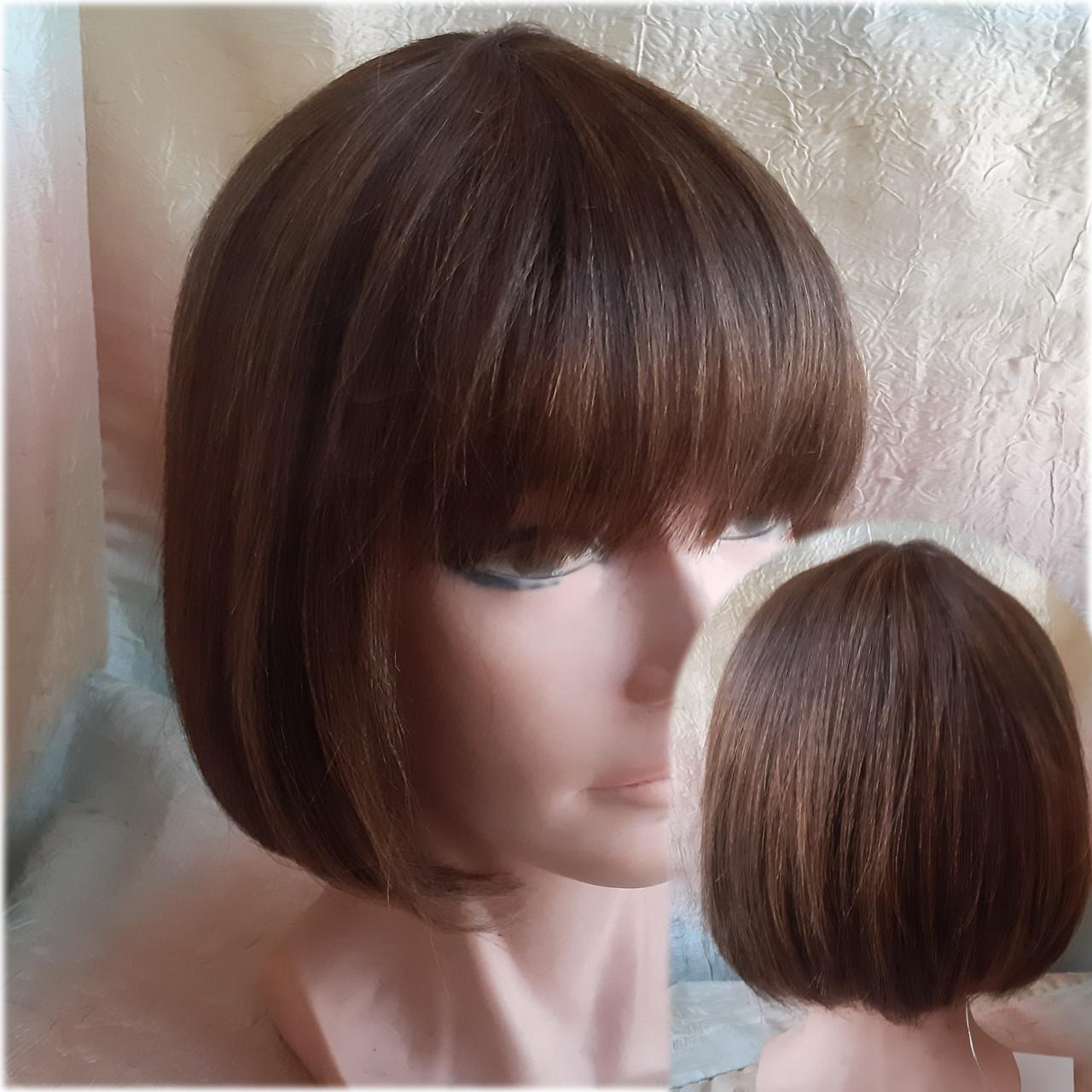 Парик из натуральных волос каре каштановый микс ERIN- P4/30