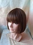 Парик из натуральных волос каре каштановый микс ERIN- P4/30, фото 7