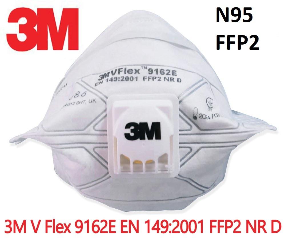 Респиратор маска 3М 9162e FFP2 (N95) с клапаном, защита от пыли и вирусов. Цена за  упаковку 15шт.