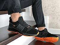 Спортивные кроссовки Adidas мужские черные с оранжевым