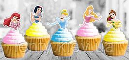 """Топперы для кексов, маффинов, капкейков  в стиле """"Принцессы Дисней"""" (5 шт) -"""