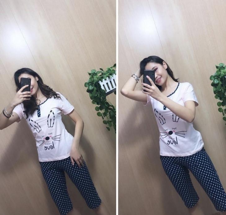 Пижама женская (4шт) Капри + футболка