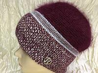 Женский натуральная шапка из  двухцветной  ангоры бордового и серой