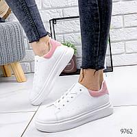 Женские белые кроссовки с розовой пяточкой, хит продаж, ОВ 9762, фото 1