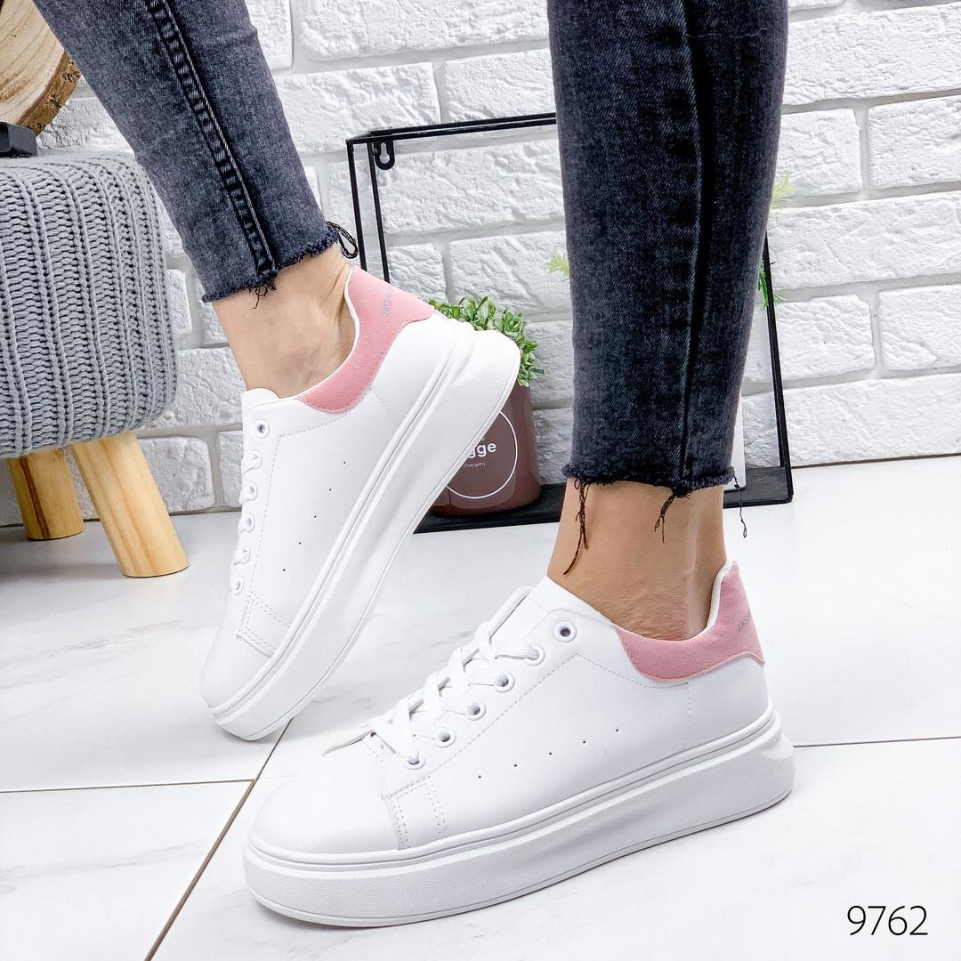 Женские белые кроссовки с розовой пяточкой, хит продаж, ОВ 9762