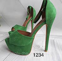 Женские босоножки зеленые, фото 1