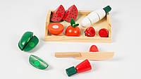 Деревянная фруктовая тарелка.C604.В наборе нож деревянный.Фрукты на липучке