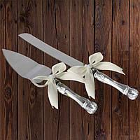 Набор нож и лопатка для свадебного торта (айвори цвет)