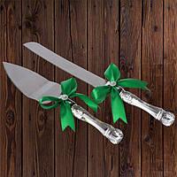Набор нож и лопатка для свадебного торта (зеленый цвет)