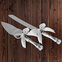 Набор нож и лопатка для свадебного торта (белый цвет)