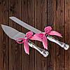 Набор нож и лопатка для свадебного торта (розовый цвет)