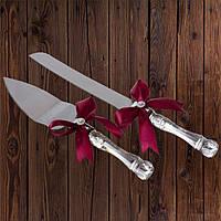 Набор нож и лопатка для свадебного торта (бордовый цвет), фото 1