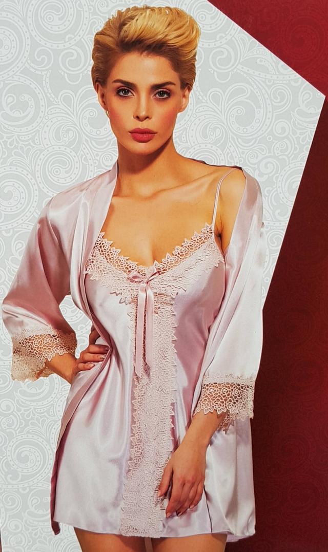 картинка женский атласный пеньюар с халатом в комплекте