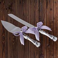 Набор нож и лопатка для свадебного торта (лиловый цвет), фото 1