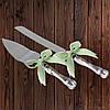 Набор нож и лопатка для свадебного торта (мятный цвет)