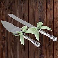 Набор нож и лопатка для свадебного торта (мятный цвет), фото 1