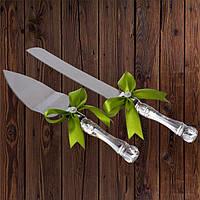 Набор нож и лопатка для свадебного торта (оливковый цвет), фото 1
