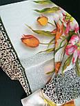 Шелковое прикосновение 10010-2, павлопосадский платок (крепдешин) шелковый с подрубкой, фото 5