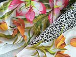 Шелковое прикосновение 10010-2, павлопосадский платок (крепдешин) шелковый с подрубкой, фото 2