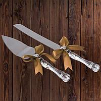 Набор нож и лопатка для свадебного торта (золотистый цвет)