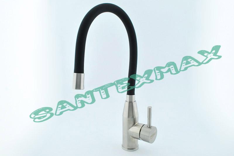 Смеситель на кухню с силиконом Falanco 8104C Черный нержавейка