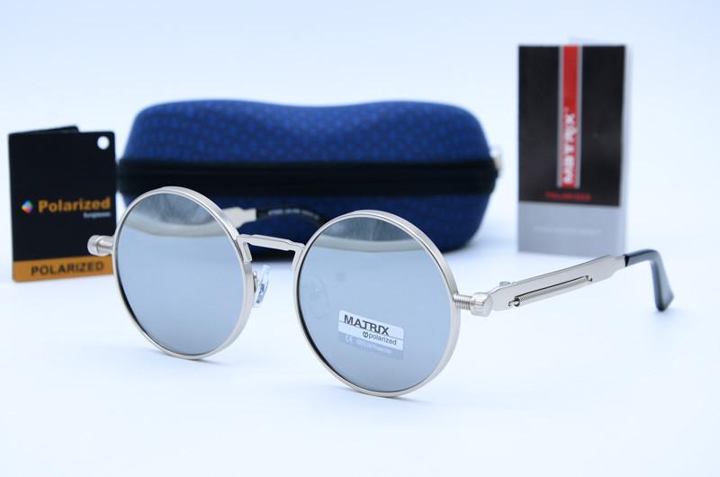 Солнцезащитные круглые мужские очки Matrix 8562 зеркало