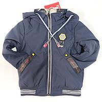 Детская демисезонная двусторонняя куртка для мальчика темно синяя 5-6 лет