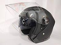 Мото шлем открытый черный матовый с очками BYB