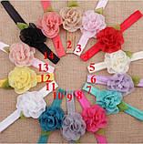 Дитяча пов'язка світло-рожева - розмір універсальний (на резинці), розмір квітки 5,5 см, фото 3