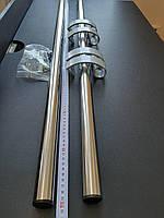 Офисная дверная прямая ручка 1000 мм (Украина) из нержавейки (метровая) комплект 2шт+крепления серебро