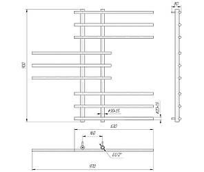 Полотенцесушитель водяній Симфонія 900x970/160 ВПС909716, фото 2