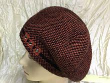 Женский коричневый шерстяной двойной берет-шапка