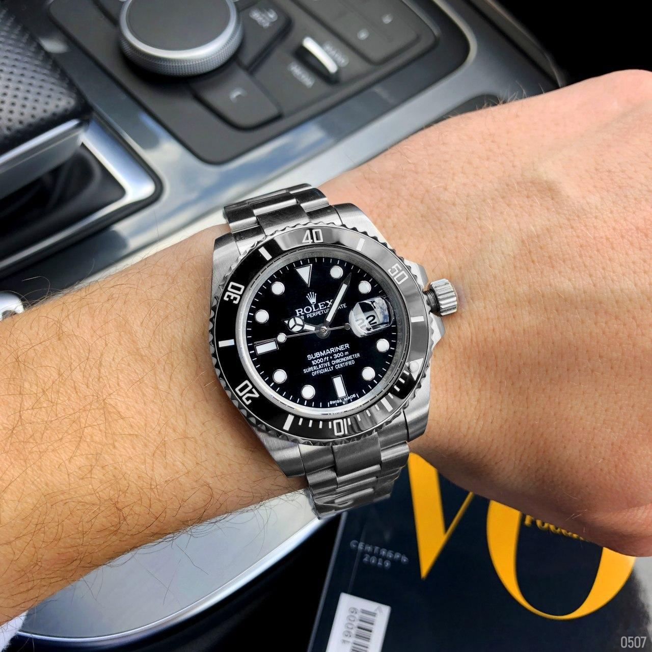 Мужские механические наручные часы Rolex Submariner AAA Date Silver-Black