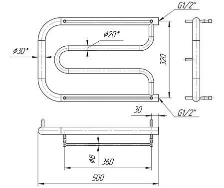 Полотенцесушитель водяній Фокстрот 350x500/320 ВПФ355032, фото 2