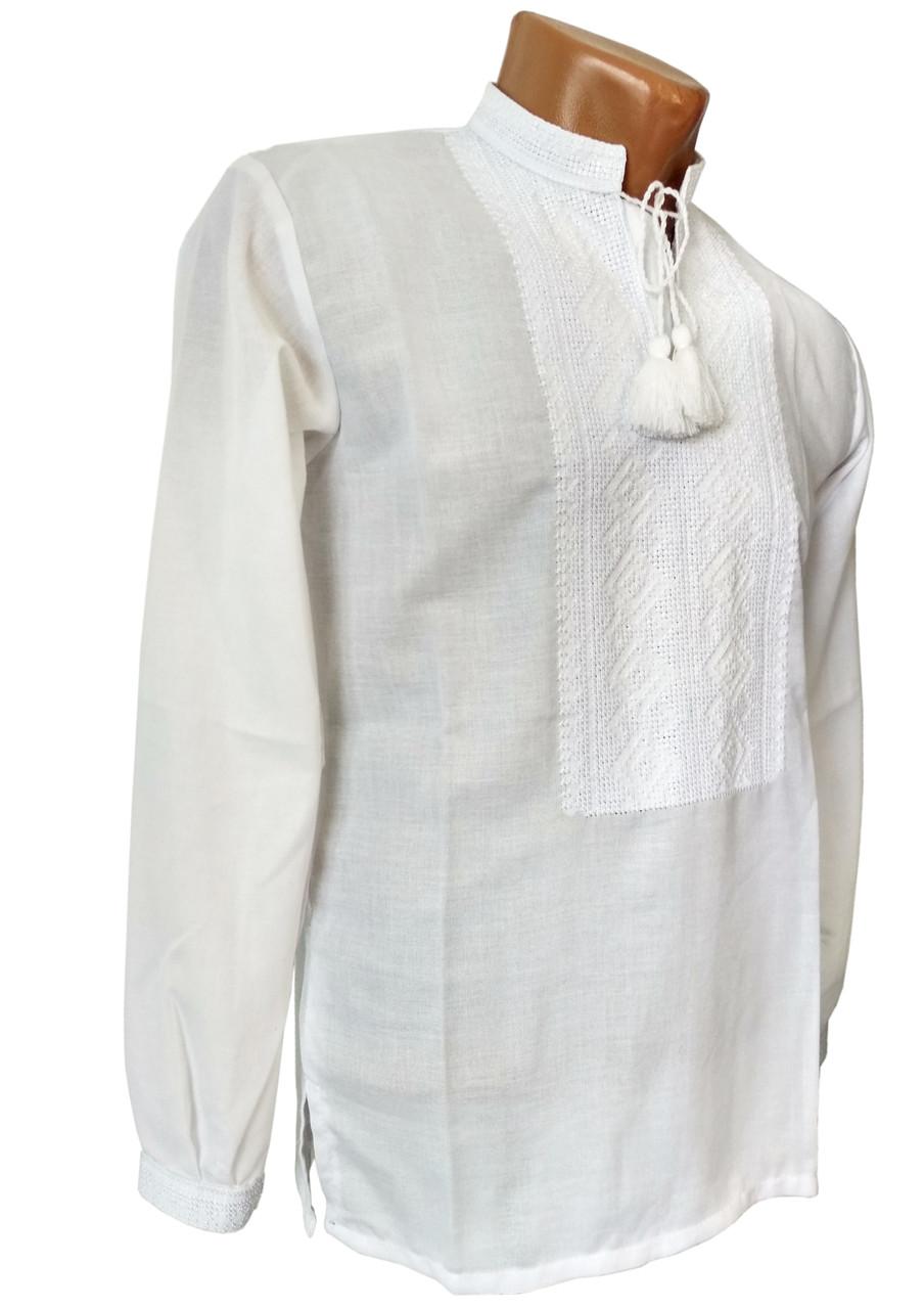 Мужская Рубашка Вышиванка на домотканом хлопке белая р. 42 - 60