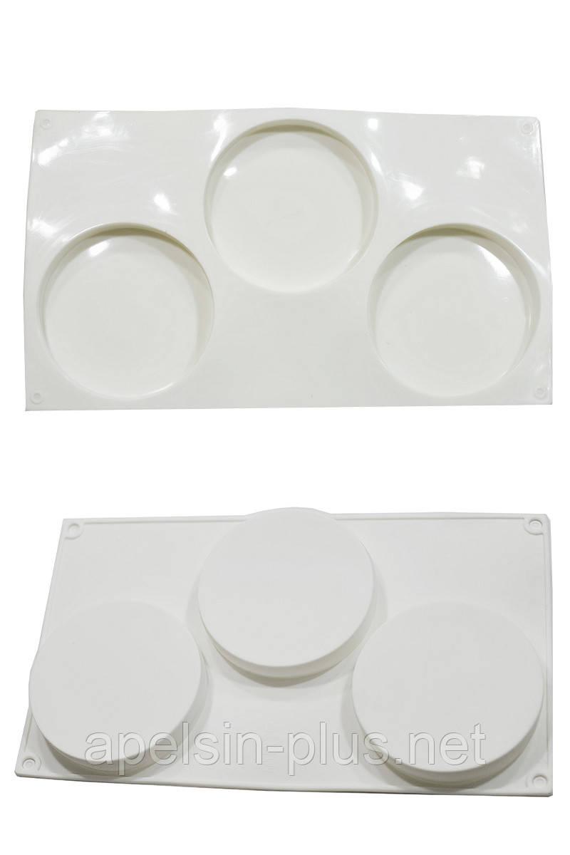 Силиконовая форма для выпечки и заморозки Тарты на 3 ячейки ( 9,5 см, 1,8 см)